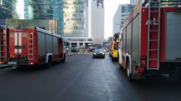 Пожарные машины в Москва-Сити. 25 января 2019