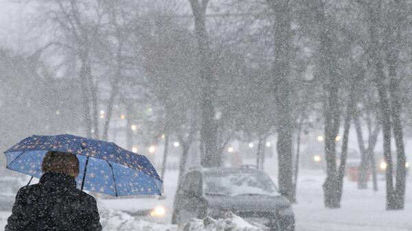 Прохожая во время снегопада на Ленинском проспекте в Москве. 26 января 2019