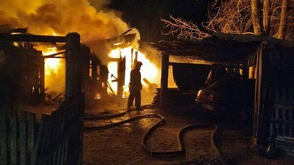 Возгорание частного дома на улице Зелёной в Миассе Челябинской области. 28 января 2019