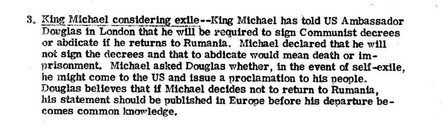 Сообщение ЦРУ президенту Трумэну от 24 ноября 1947 года о том, что король Румынии Михай I опасается возвращаться из Лондона в Бухарест