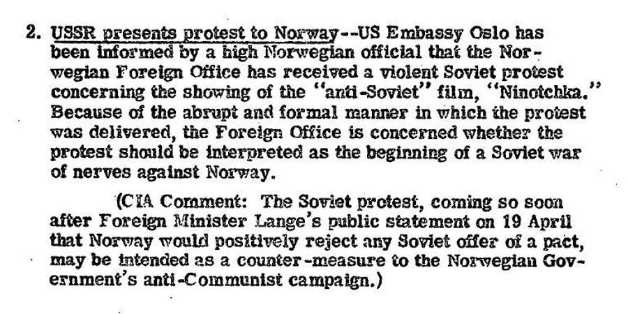 Сообщение ЦРУ от 28 апреля 1948 года о советской ноте МИД Норвегии из-за показа фильма Ниночка