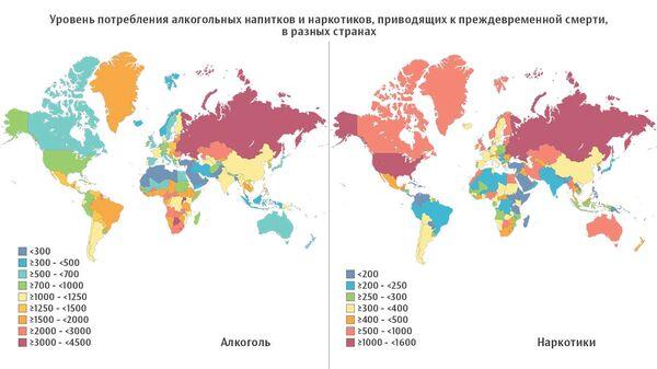 Уровень потребления алкогольных напитков и наркотиков
