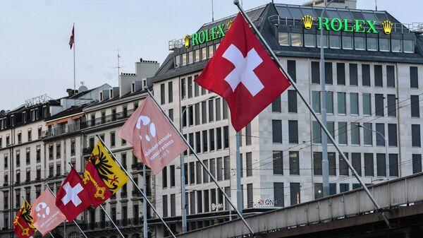 Флаги на одной из улиц Женевы