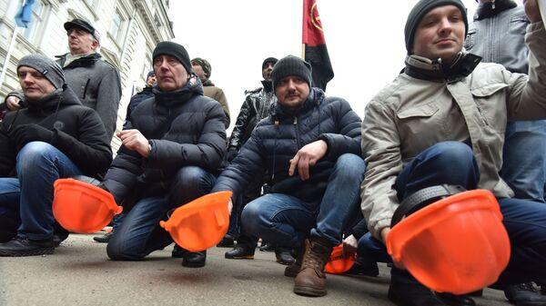 Шахтеры на акции протеста во Львове против задержек заработной платы