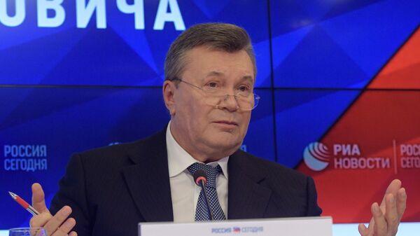 Бывший президент Украины Виктор Янукович на пресс-конференции в МИА Россия сегодня