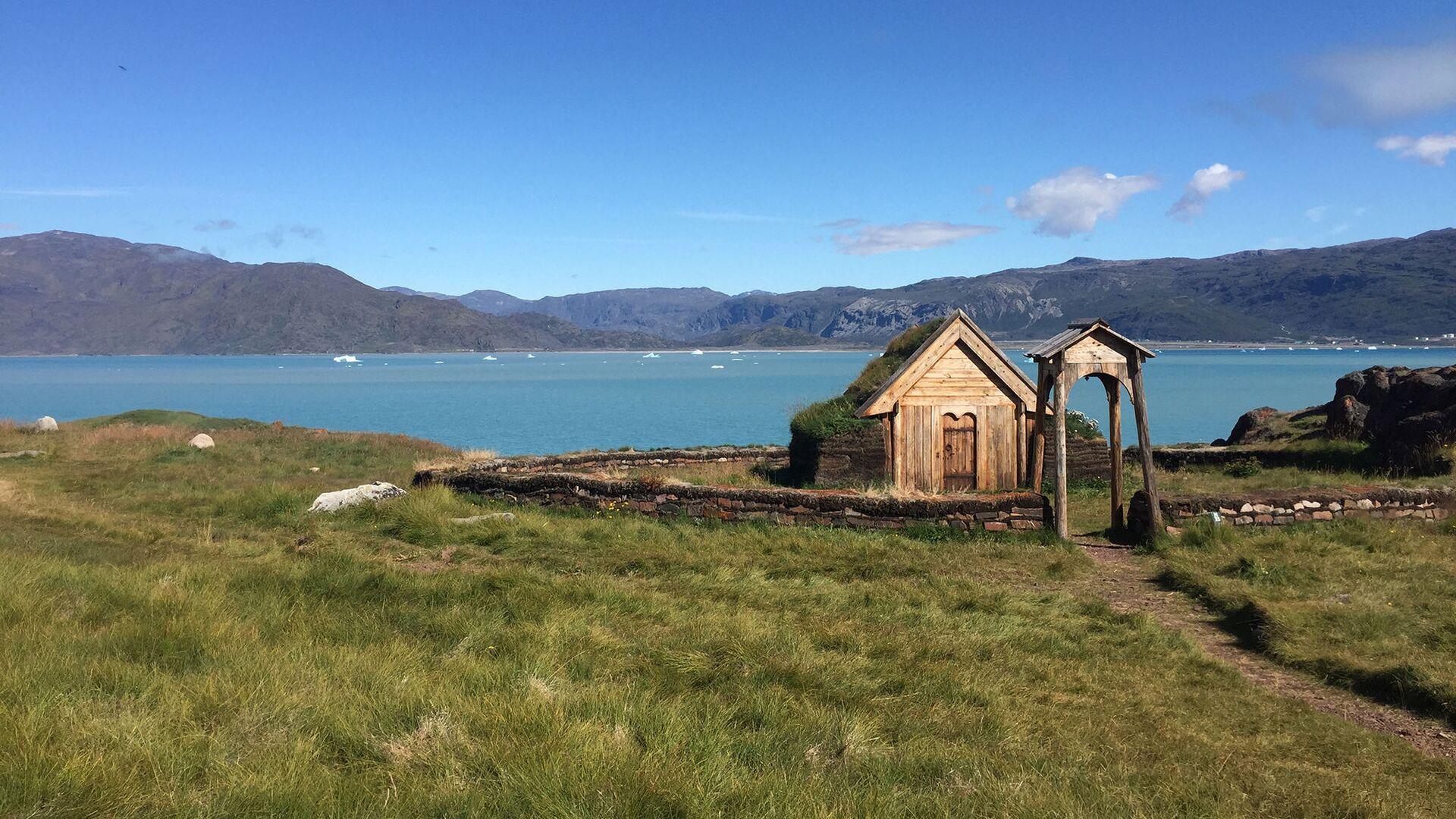 Реконструкция церкви, построенной в Гренландии на территории двора легендарного Эрика Рыжего - РИА Новости, 1920, 06.02.2019