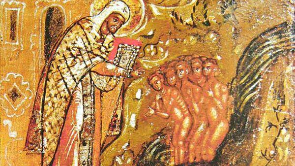 Святитель Леонтий крестит детей. Клеймо иконы Леонтий Ростовский с житием в 24 клеймах. Около 1677 года