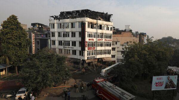 Гостиница в Нью-Дели, где произошел пожар. 12 февраля 2019