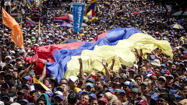 Митинг сторонников провозгласившего себя временным президентом страны лидера оппозиции Хуана Гуаидо в Каракасе