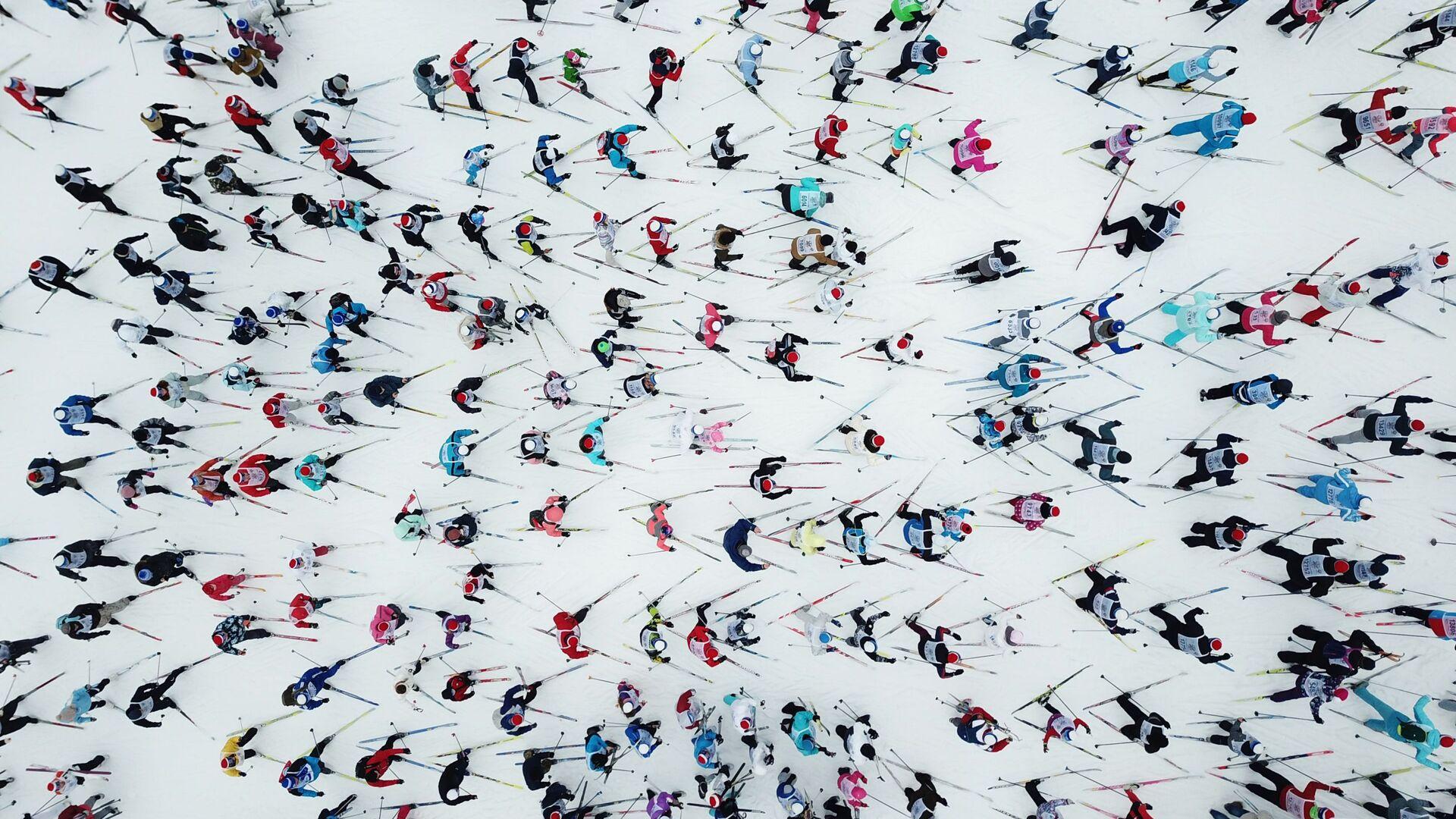 Участники на дистанции Всероссийской массовой лыжной гонки Лыжня России - РИА Новости, 1920, 13.02.2021