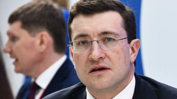 Губернатор Нижегородской области Глеб Никитин на стенде МИА Россия сегодня на Российском инвестиционном форуме в Сочи.