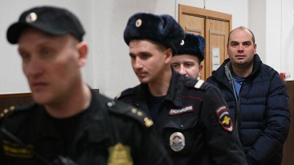 Экс-председатель правления банка Восточный Алексей Кордичев в Басманном суде Москвы. 15 февраля 2019