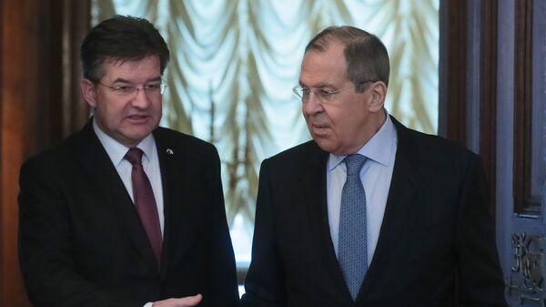Министр иностранных дел РФ Сергей Лавров и министр иностранных дел Словакии Мирослав Лайчак во время встречи в Москве. 19 февраля 2019