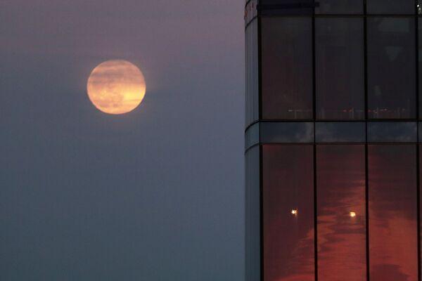 Суперлуние, наблюдаемое со смотровой площадки башни Око Московского международного делового центра (ММДЦ) Москва-Сити