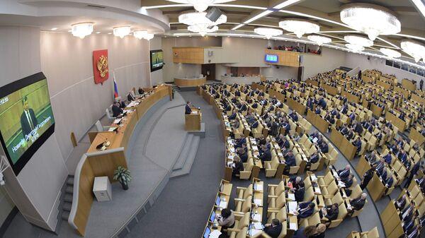 Депутаты на пленарном заседании Государственной Думы РФ. 20 февраля 2019