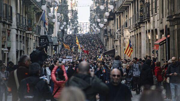 Акция сторонников независимости Каталонии в Барселоне