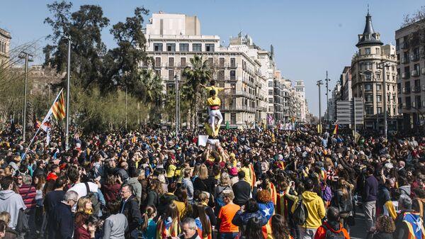 Акция сторонников независимости Каталонии