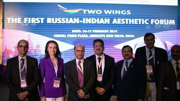Российские и индийские спикеры на форуме в Нью-Дели