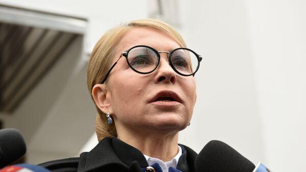 Кандидат в президенты Украины, лидер всеукраинского объединения Батькивщина Юлия Тимошенко на пресс-конференции в Киеве