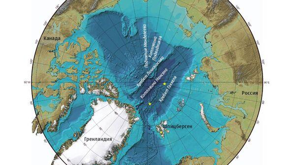 Карта Северного Ледовитого океана и хребет Ломоносова