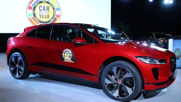 Автомобиль Jaguar I-Pace на Международном автосалоне в Женеве. 4 марта 2019