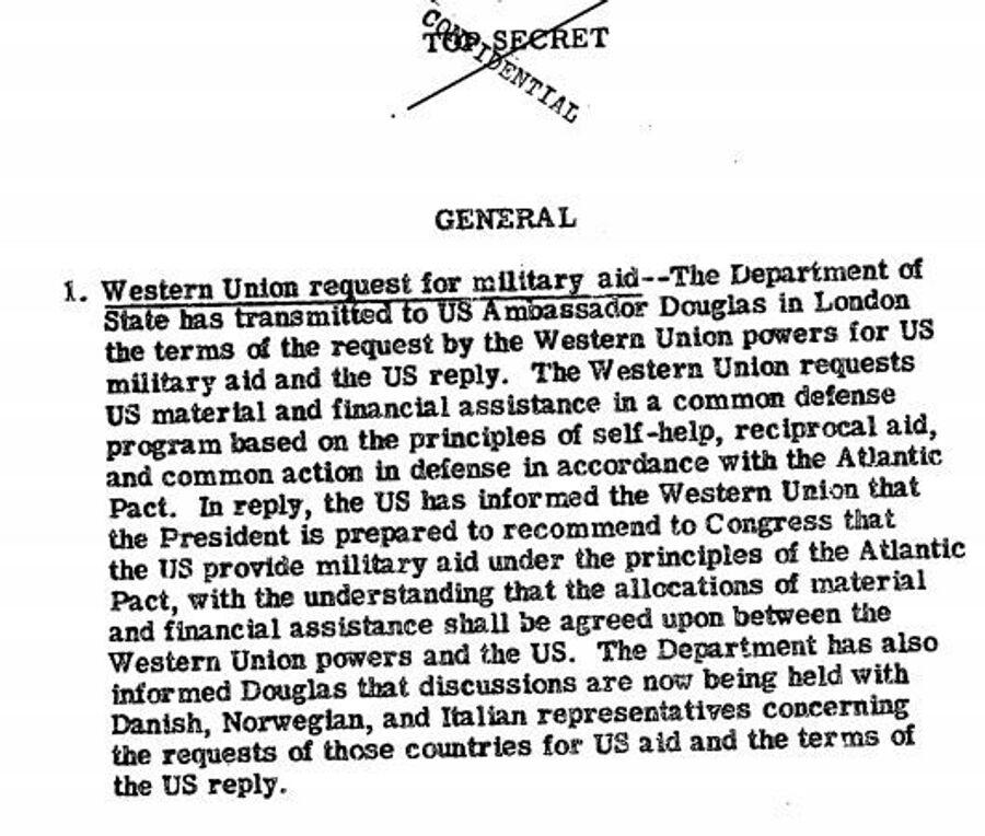 Фрагмент сводки разведки США о том, что европейские члены НАТО рассчитывают на американскую помощь