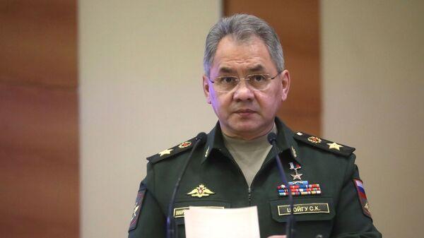 Министр обороны РФ Сергей Шойгу выступает на расширенном заседании комитета Государственной Думы РФ по обороне