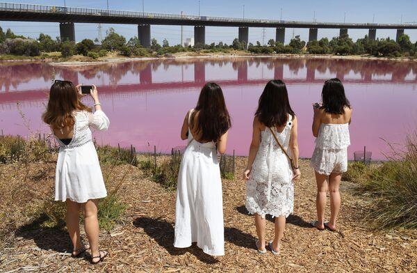 Девушки фотографируют озеро в парке Вестгейт, которое окрасилось в розовый цвет в Мельбурне, Австралия