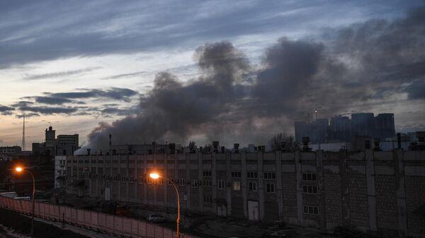 Пожар на складе на 1-й Магистральной улице в Москве. 10 марта 2019