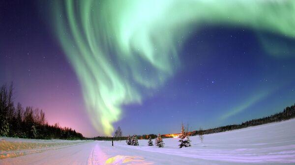 Сияние зимой на Аляске