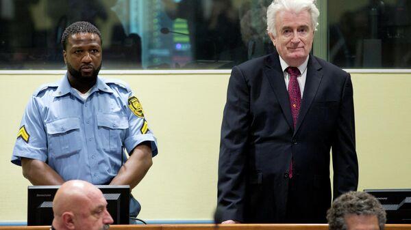 Экс-президент Республики Сербской Боснии и Герцеговины Радован Караджич во время заседания Апелляционной палаты Международного остаточного механизма для уголовных трибуналов. 20 марта 2019