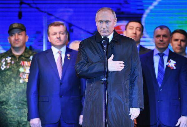 Президент РФ Владимир Путин на концерте в Симферополе по случаю пятилетия воссоединения Крыма с Россией