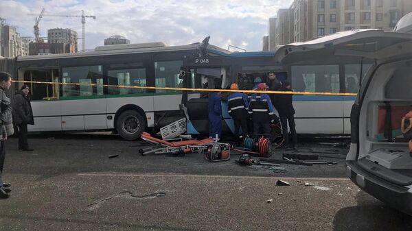 Столкновения автобусов в столице Казахстана Нур-Султане