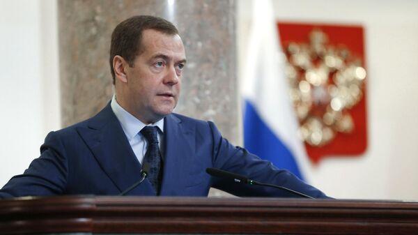 Председатель правительства РФ Дмитрий Медведев выступает на расширенном заседании коллегии министерства финансов РФ. 26 марта 2019