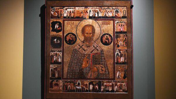 Святитель Николай Чудотворец, с 20 клеймами жития из старообрядческой церкви (XVII век)