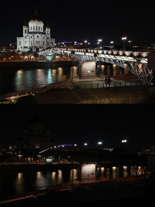Храм Христа Спасителя в Москве до и после отключения подсветки в рамках экологической акции Час Земли