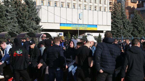 Здание ЦИК Украины в Киеве во время президентских выборов. 31 марта 2019