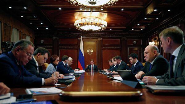 Председатель правительства РФ Дмитрий Медведев Медведев проводит заседание президиума Совета при президенте РФ по стратегическому развитию и национальным проектам. 1 апреля 2019