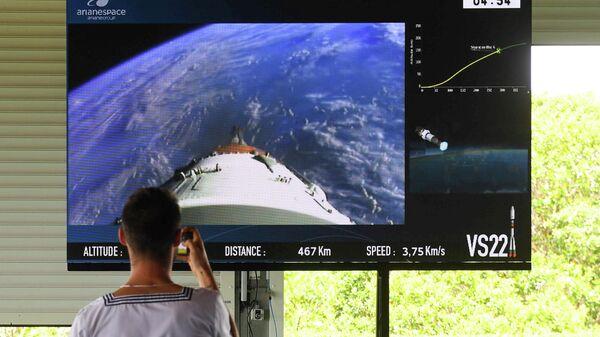 Прямая трансляция полета российской ракеты Союз-СТ-Б с четырьмя спутниками O3b, запущенной из Гвианского космического центра в Куру