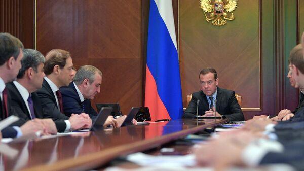 Премьер-министр РФ Дмитрий Медведев проводит селекторное совещание о ходе весенних сельскохозяйственных работ. 5 апреля 2019
