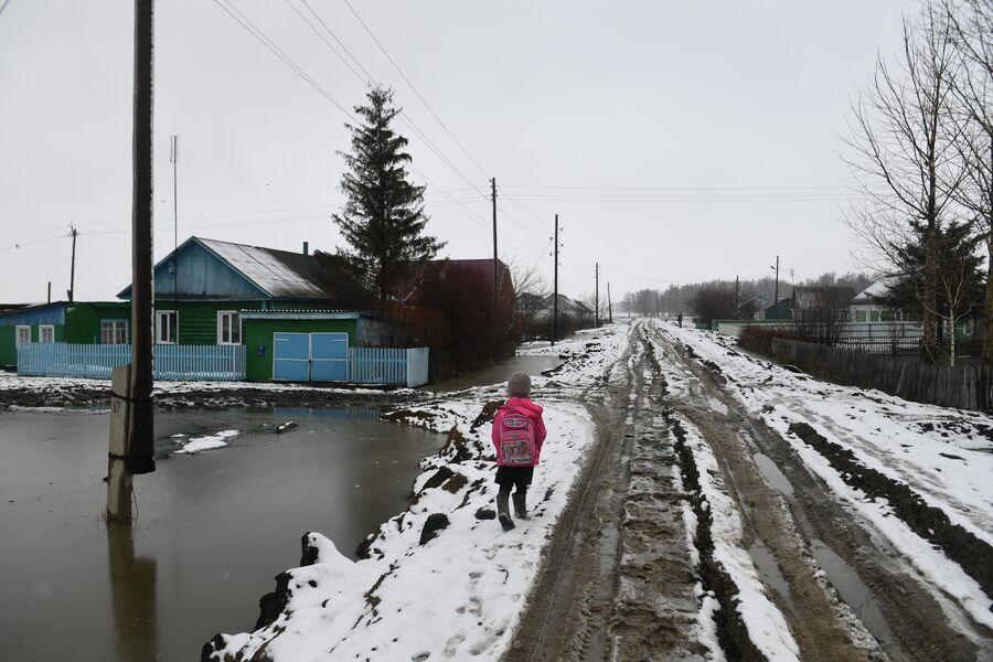 Ребенок идет в школу в деревне Аполлоновка