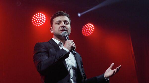 Кандидат в президенты Украины Владимир Зеленский на шоу в Броварах, Украина