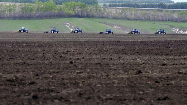 Тракторы боронят вспаханное поле
