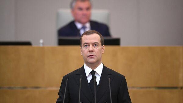 Председатель правительства РФ Дмитрий Медведев после выступления в Государственной Думе РФ