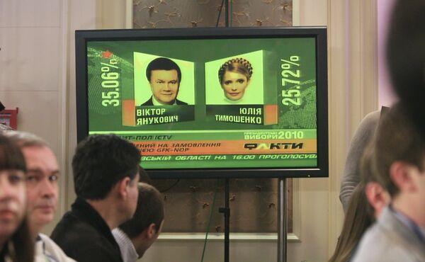 Пресс-конференция Юлии Тимошенко и Виктора Януковича по итогам первого тура президентских выборов на Украине. 2010 год