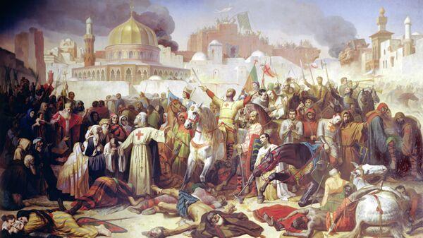 Работа французского художника Эмиля Синьоля Завоевание Иерусалима крестоносцами, 15 июля 1099, 1847 год