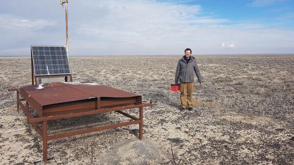 Григорий Рубцов на дежурстве по обслуживанию детекторов наземной решетки Telescope Array в декабре 2018 года