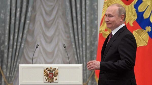 Владимир Путин на церемонии вручения медалей Герой Труда Российской Федерации. 29 апреля 2019