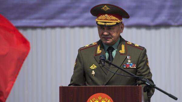 Министр обороны РФ Сергей Шойгу на церемонии передачи Киргизии партии военной техники