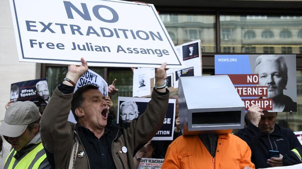 Участники акции в поддержку основателя WikiLeaks Джулиана Ассанжа у здания Вестминстерского мирового суда в Лондоне. Архивное фото